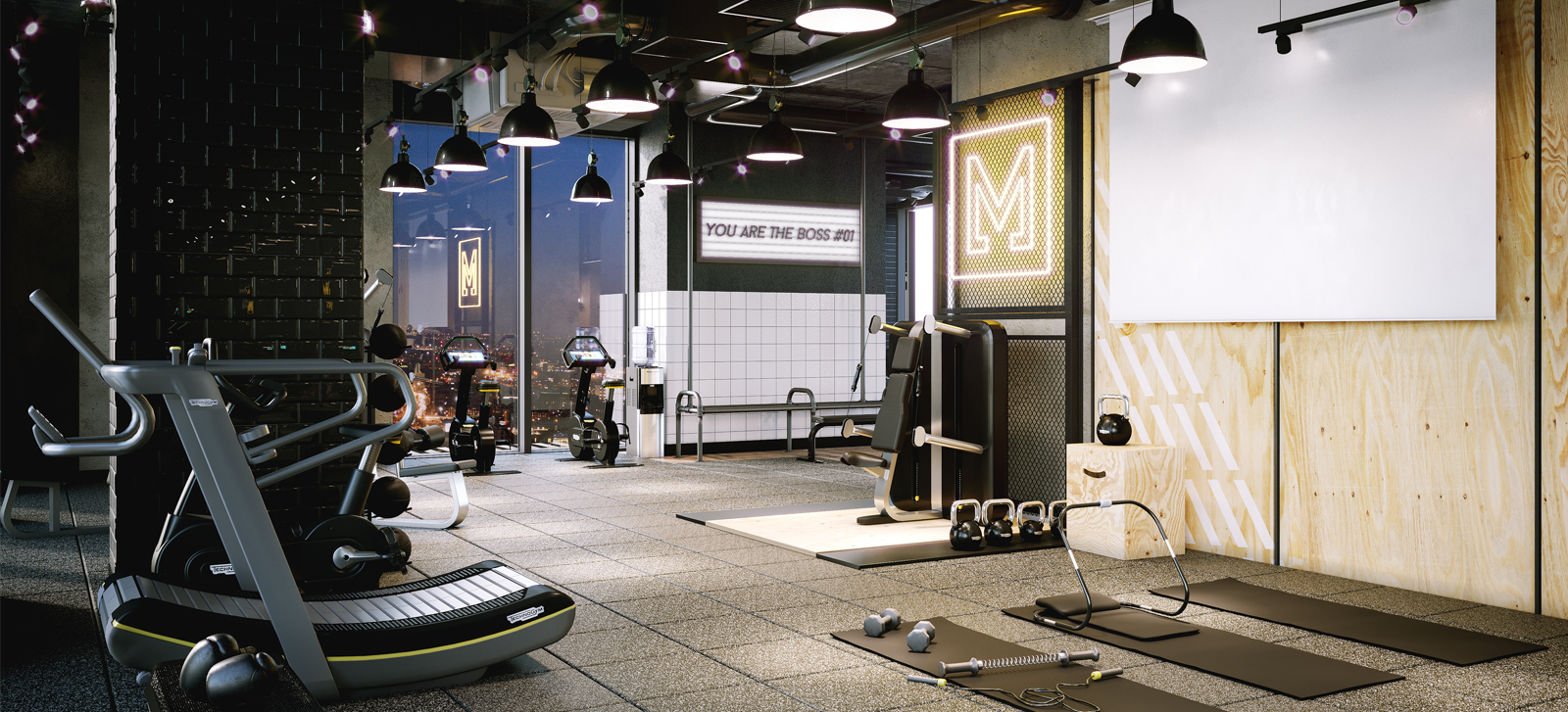urban style gym with dark carpet tiles and gym equipment