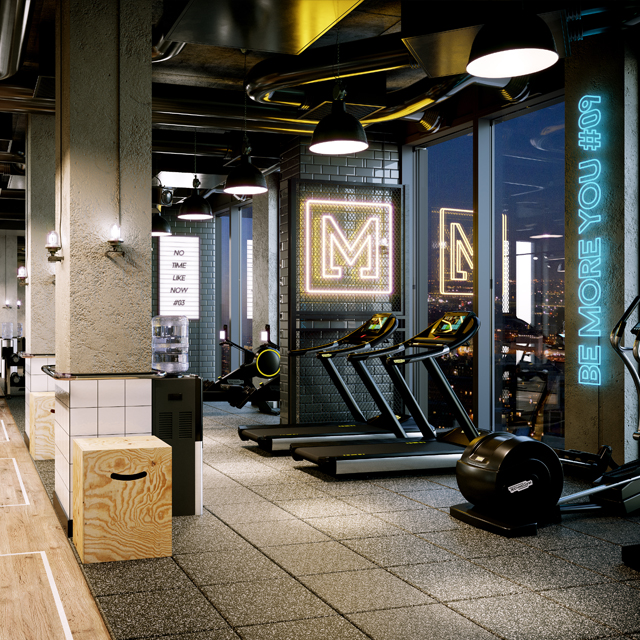 urban style gym with concrete, wood and neon lights