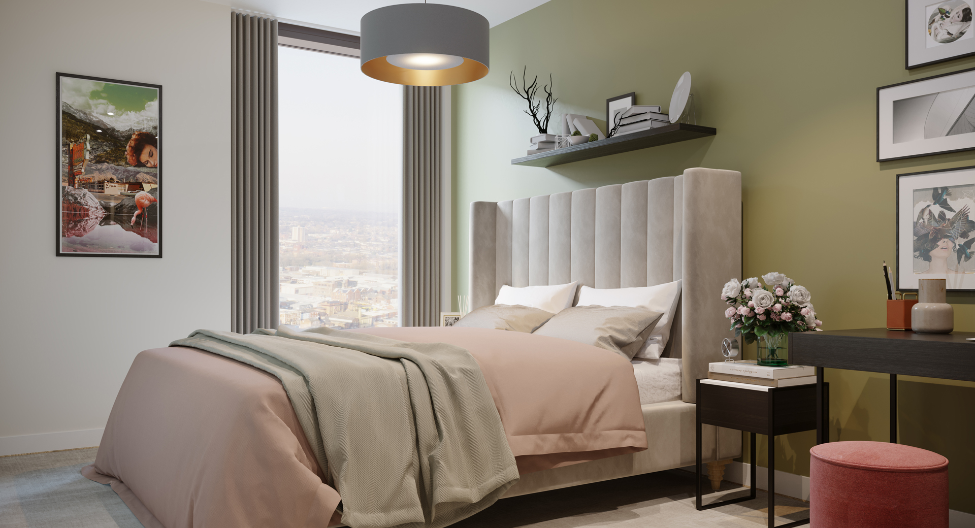 olive green bedroom with king size bed with light pink bedding