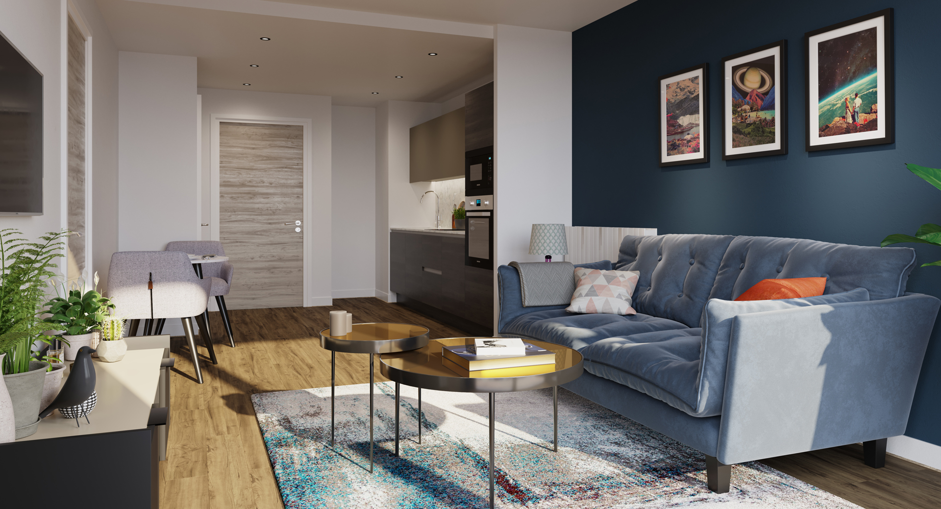 open plan apartment with dark wood kitchen and light blue sofa