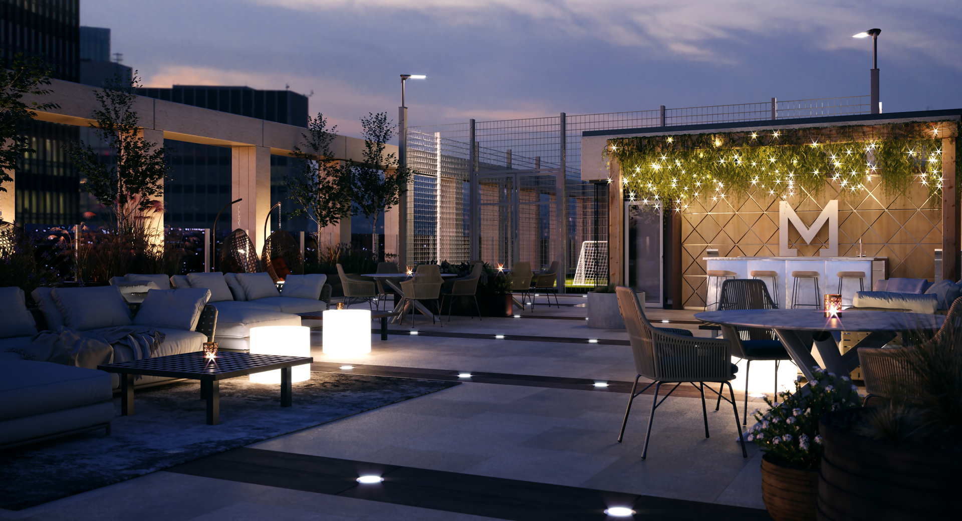 rooftop bar with wooden seating and geometric patterned cushions