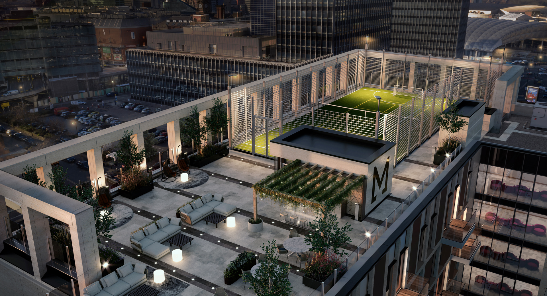 concrete rooftop terrace with small football pitch and bar area