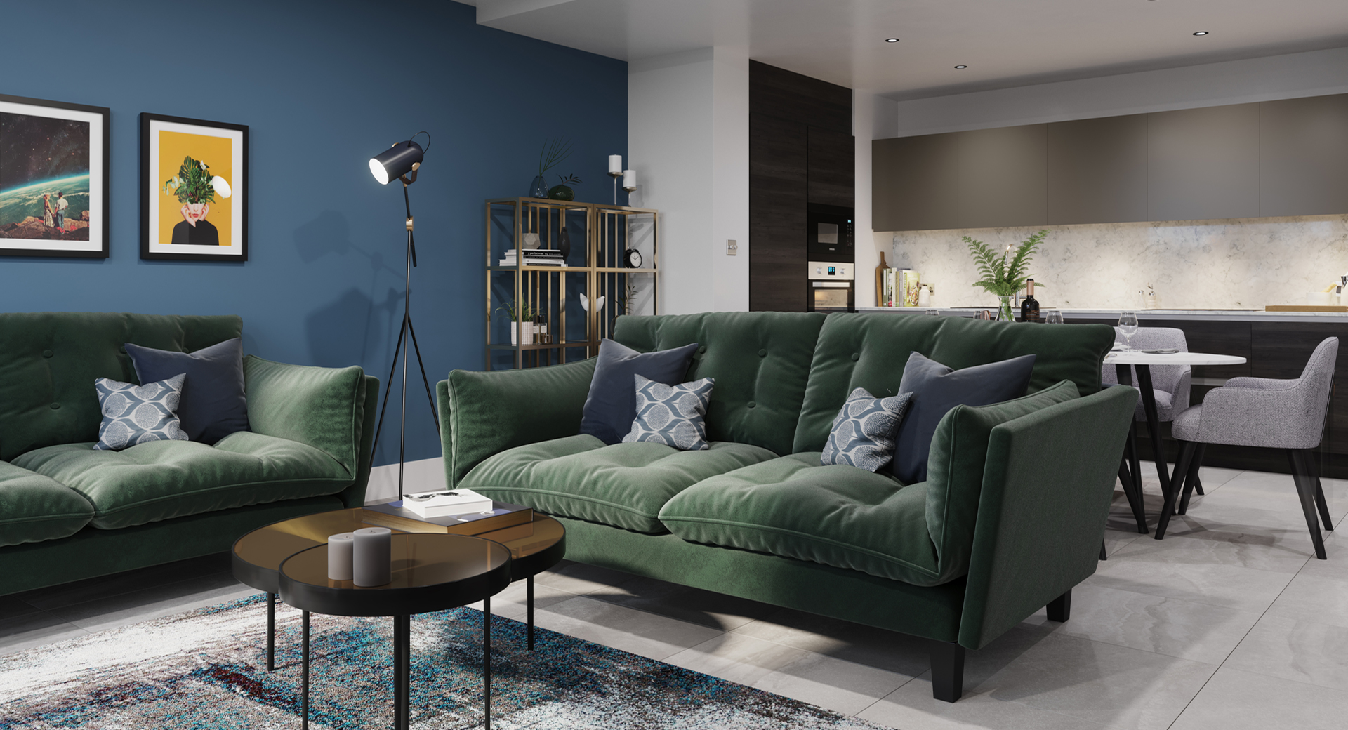 stylish open plan apartment with dark wood blue wall and green sofa