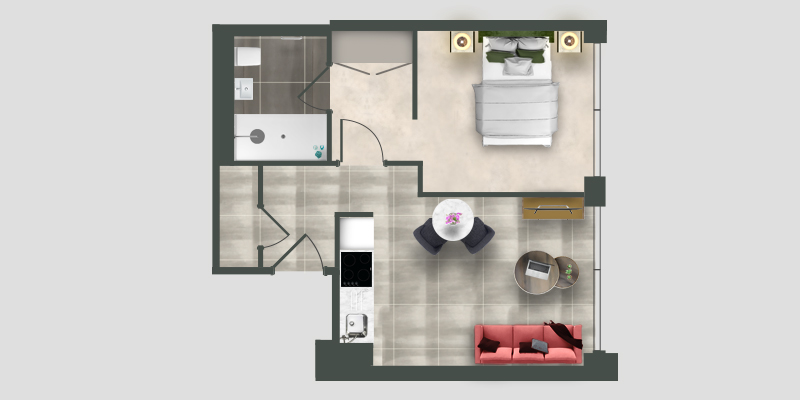 Moda studio apartment floor plan illustration