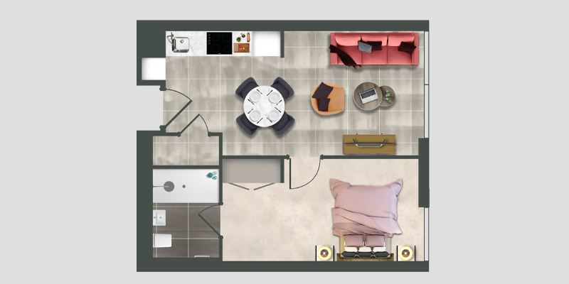 Moda 1 bed apartment floor plan illustration