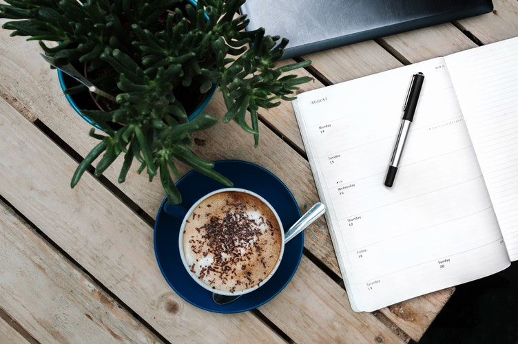 Birdseye view of coffee, diary, pen and plant