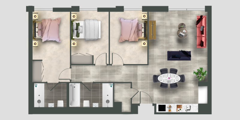 Moda 3 bed apartment floor plan illustration