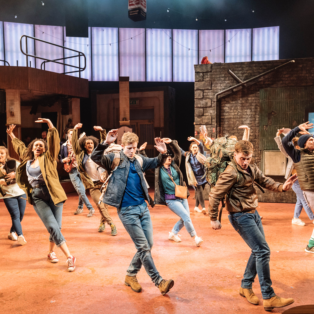 Image of performance of 'Sunshine on Leith' at the Leeds Playhouse