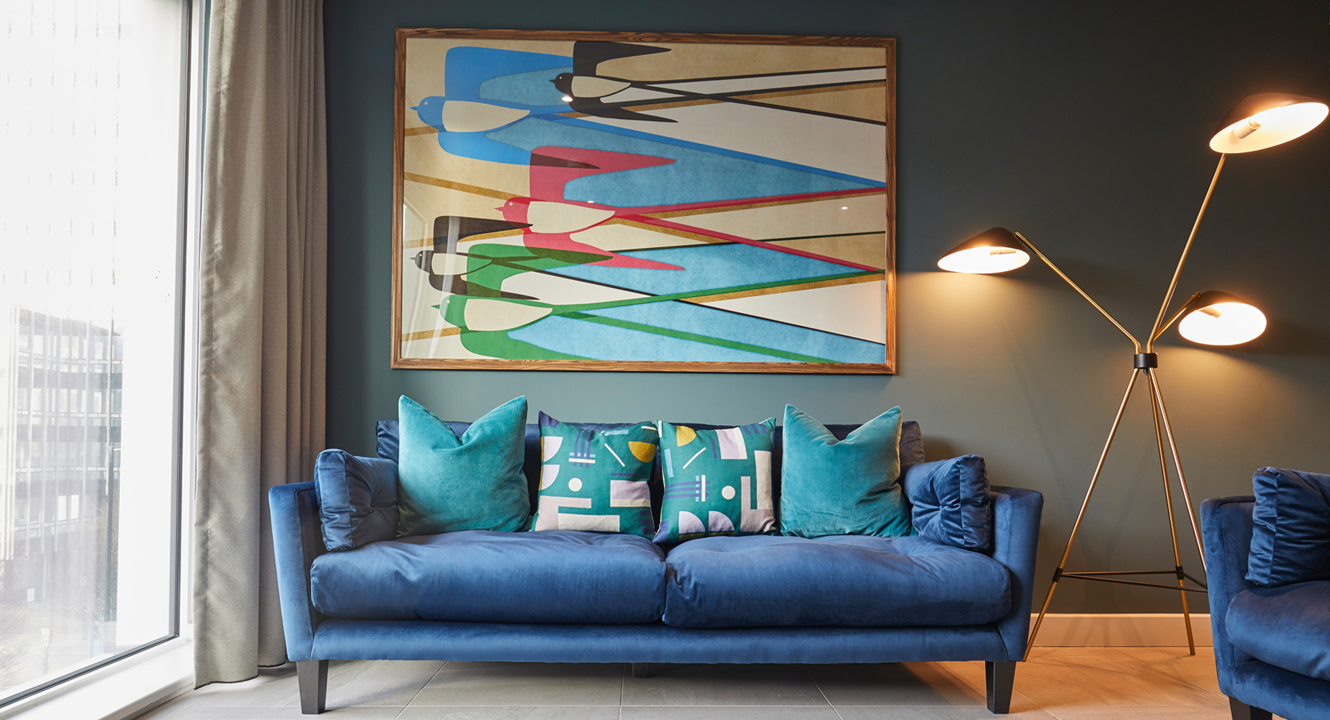interior designed bespoke furniture and adam ellis artwork