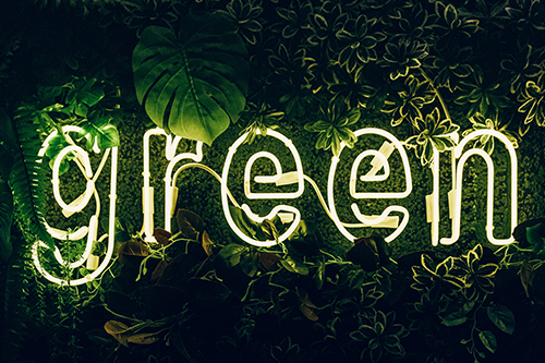 Neon sign of the word green