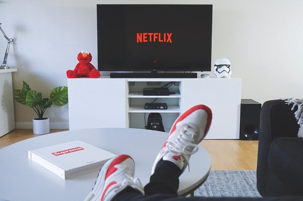living room with netflix on tv screen