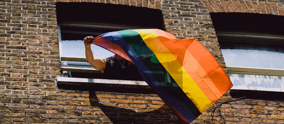 Pride rainbow flag being waved out a windoe