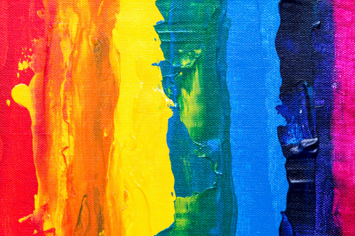 painting of pride rainbow colours