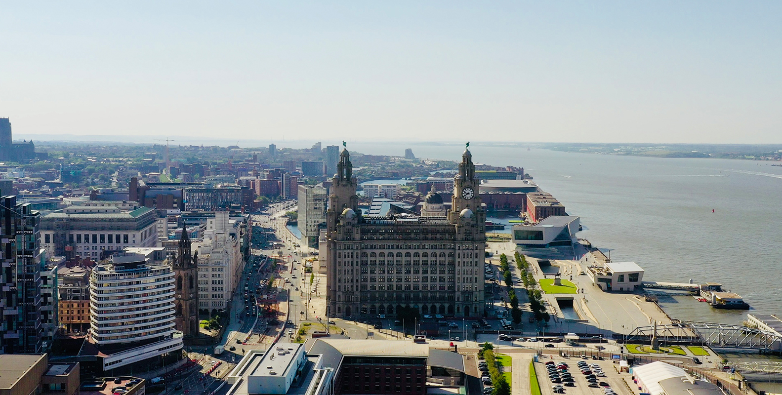 View of the Liver Building in Liverpool on the waterfront