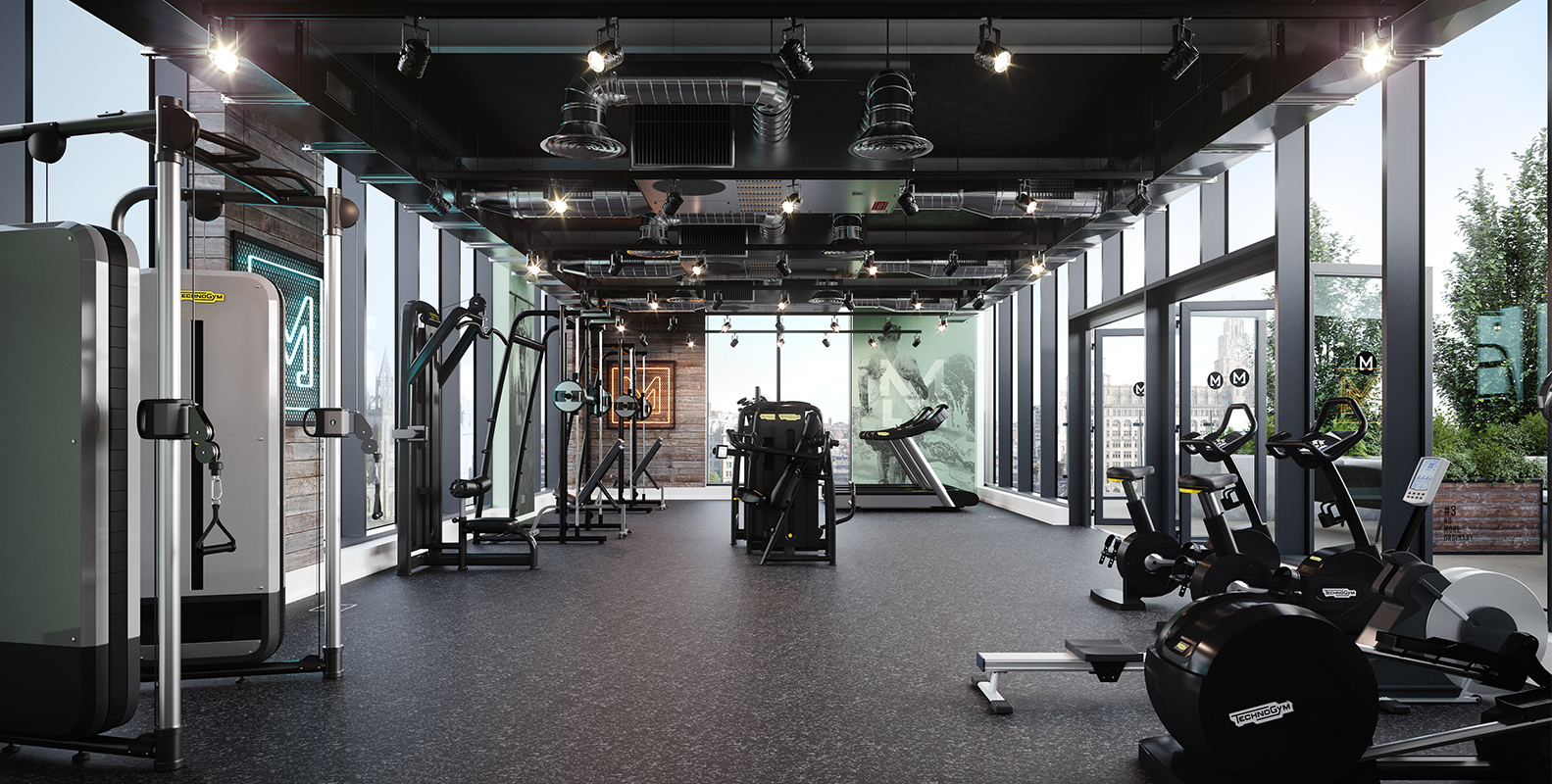 gym with Technogym equipment and neon lights