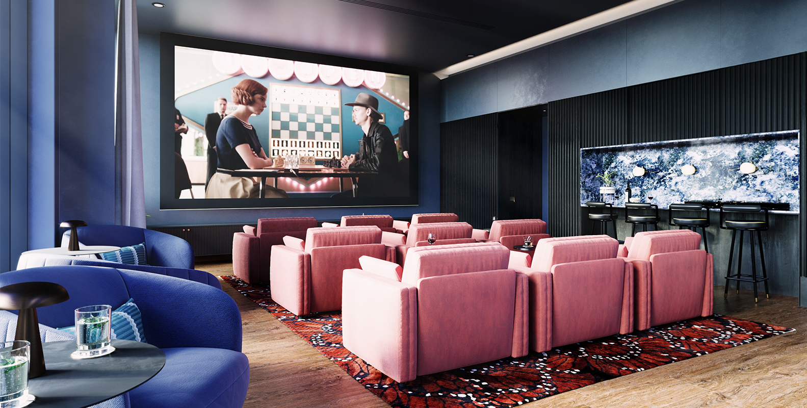 Image of cinema room with movie on big screen