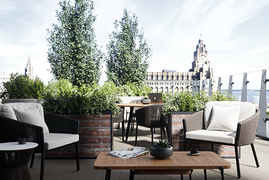 Roof terrace with outdoor seating and view of The Liver Building in Liverpool