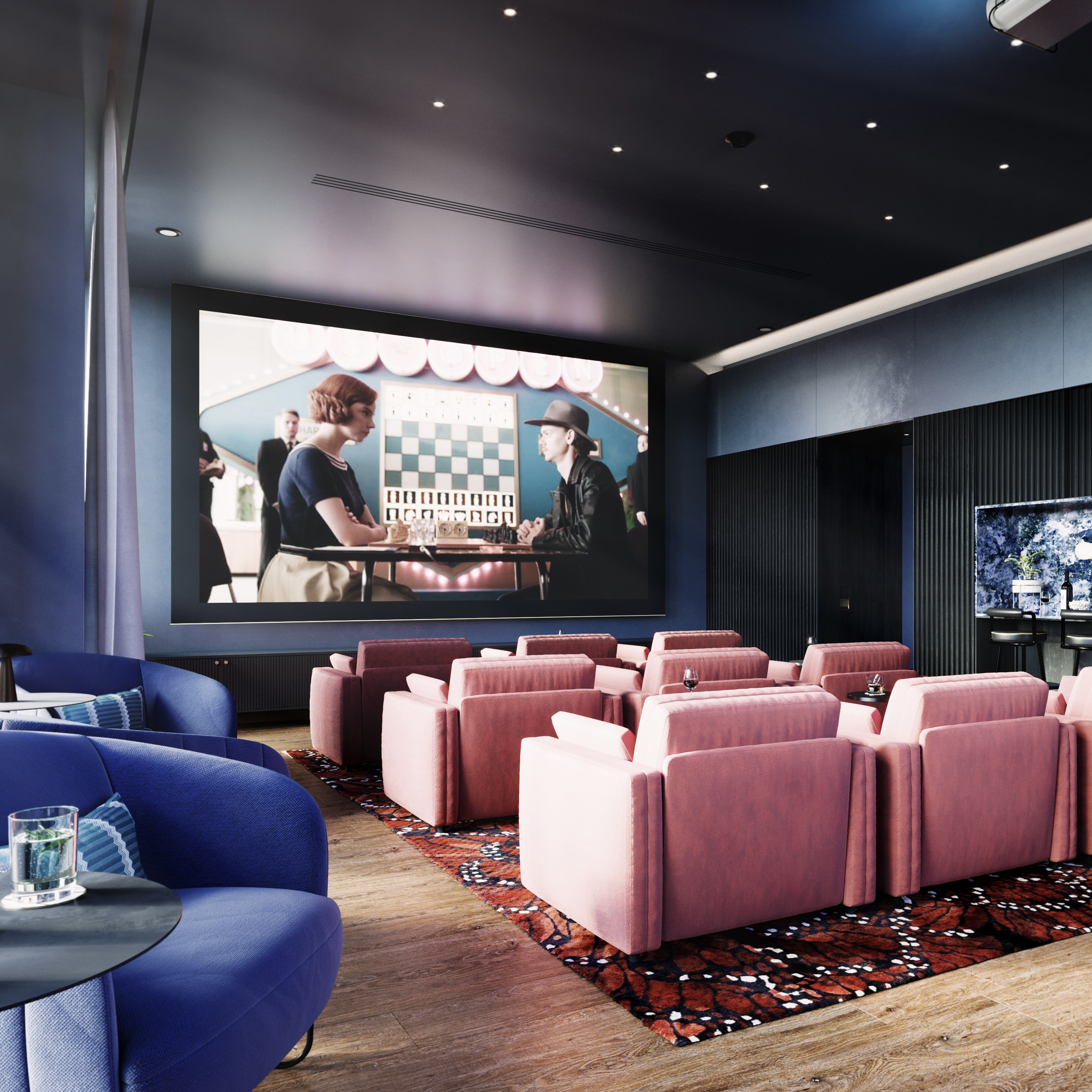 Cinema room with big screen and seating