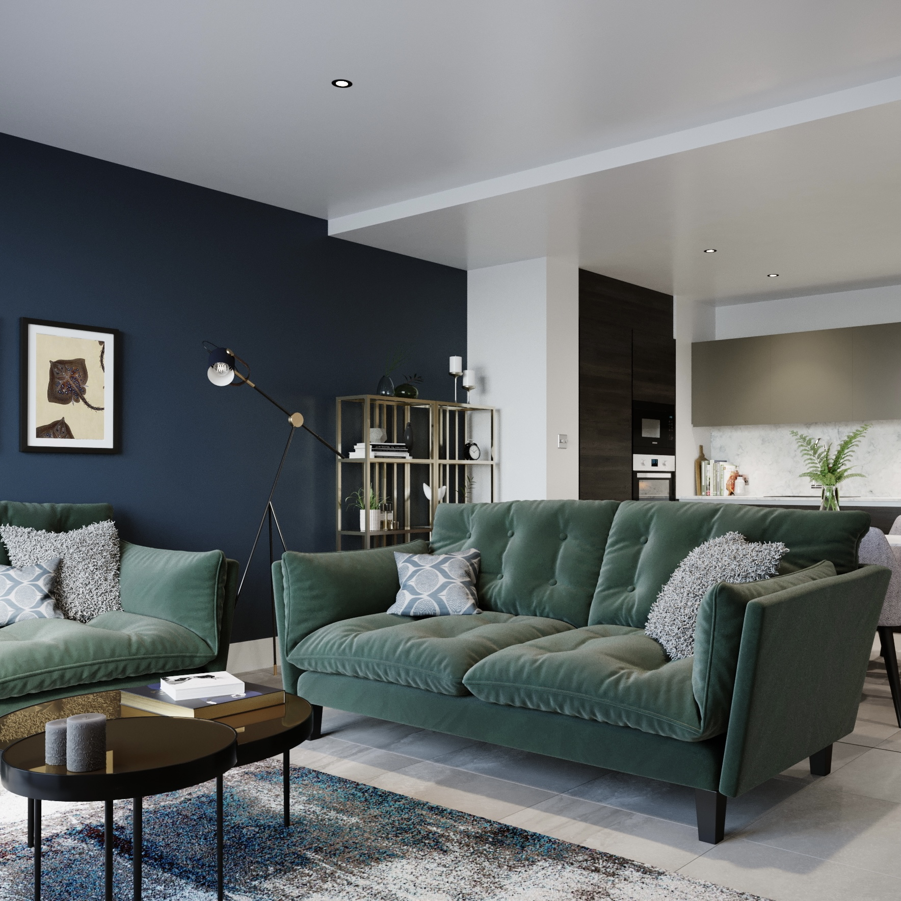 Image of apartment with green sofa and open plan kitchen in back